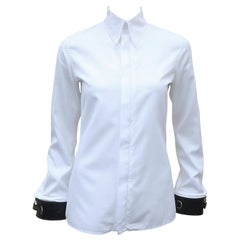 Jean Paul Gaultier White Shirt With Black Leather Restraint Cuffs