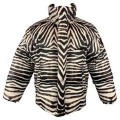 JEAN PAUL GAULTIER x BOSIDENG Brown & White Zebra Print Nylon Down Filled Jacket
