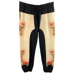 JEAN PAUL GAULTIER x SUPREME Size XL Black & Beige Print Cotton Sweatpants