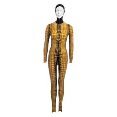 Jean Paul Gaultier yellow cyber dots hooded catsuit, fw 1995