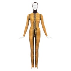 Jean Paul Gaultier yellow cyber dots lycra printed bodystocking, fw 1995