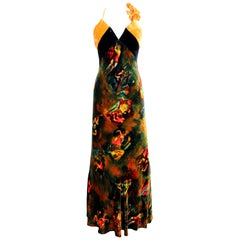 Jean Paul Gaultier Yellow Iridescent Silk Velvet Evening Dress Japan