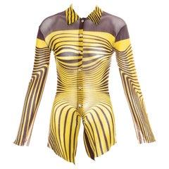 Jean Paul Gaultier yellow optical illusion printed mesh shirt, ss 1996