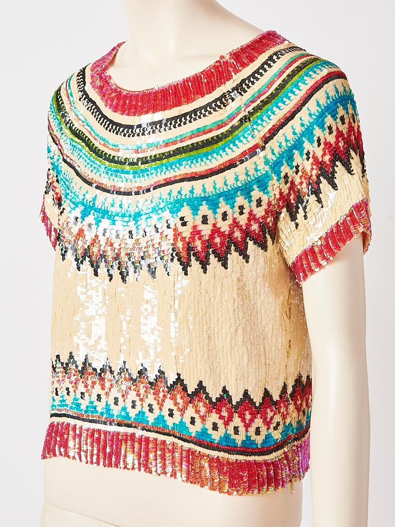 Jean Paul Gaultier,  short sleeve, tee shirt / top encrusted with multi tone sequins on an ivory chiffon ground, depicting a fair isle inspired pattern.