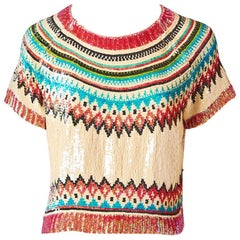 Jean Paul Gautier Sequined Fair Isle Tee