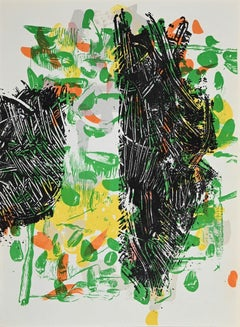 Green Composition - Original Lithograph by Jean-Paul Riopelle - 1968