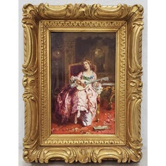 Jean Paul Sinibaldi Portrait of an Elegant Young Woman Playing the Lute c.1880