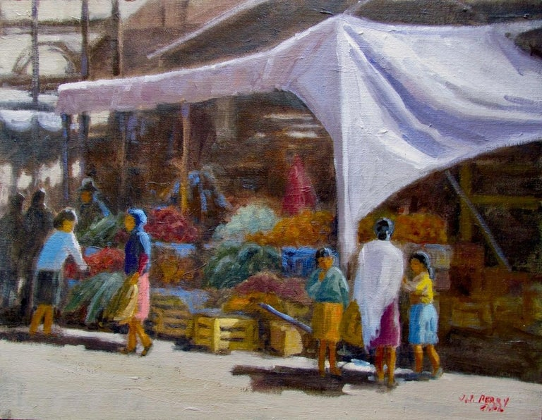 San Miguel Market - Painting by Jean Perry