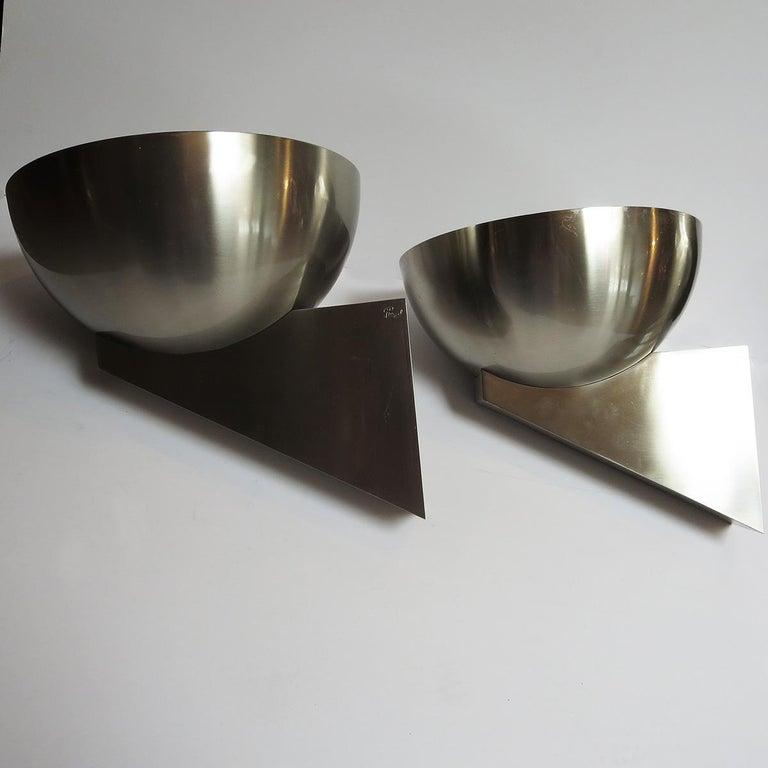Jean Perzel Brushed Steel Art Deco Sconces For Sale 1