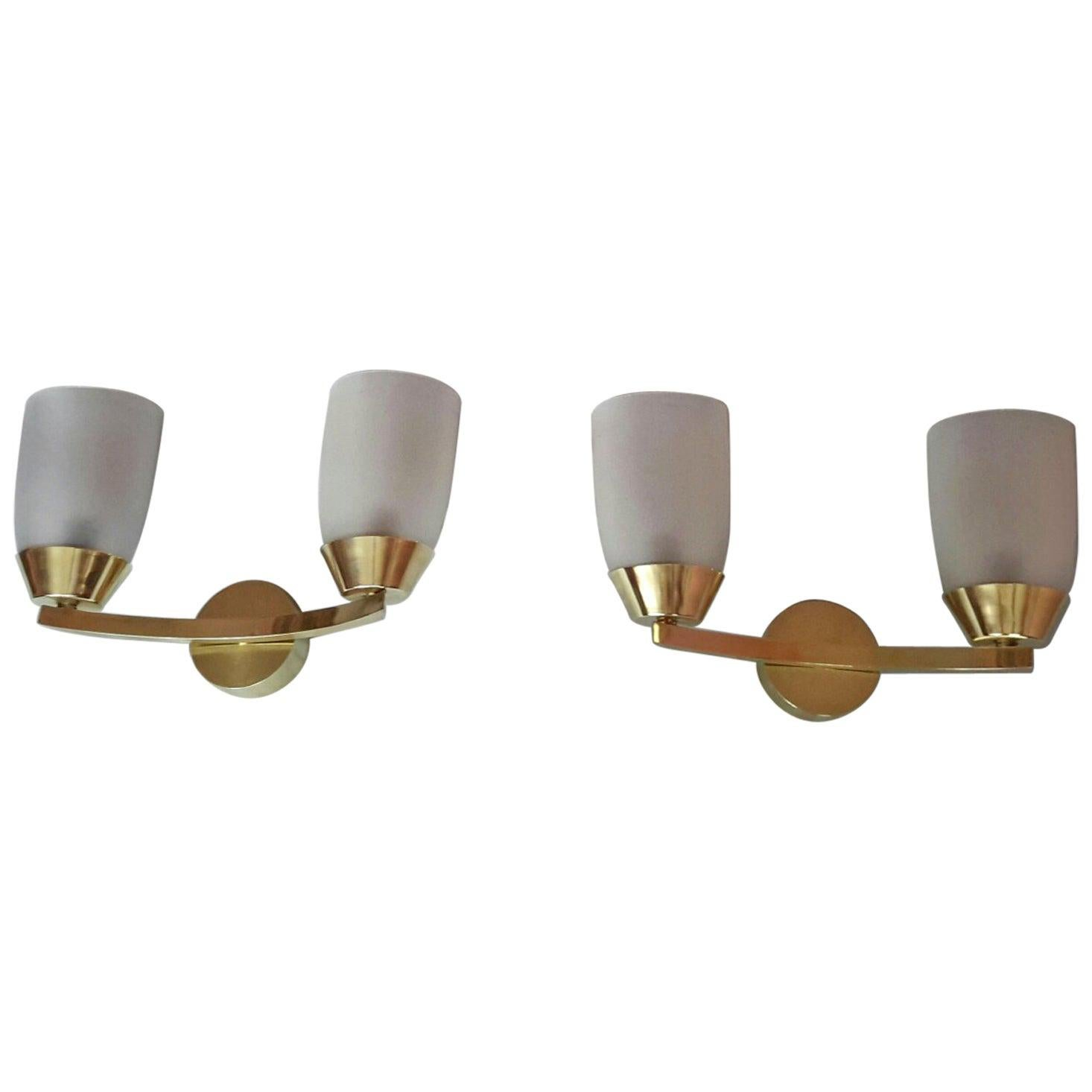 Jean Perzel Style Mid-Century Modern Brass Sconces, France, 1950