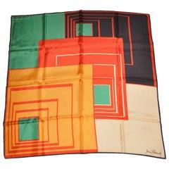 "Jean Peskal Wonderful ""Abstract Squares"" MultiColor Silk Scarf"