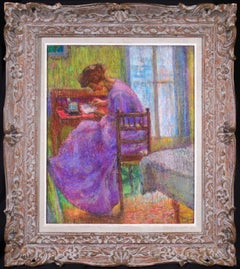 Femme à l'ouvrage - Post Impressionist Pastel, Figure in Interior by Jean Peske