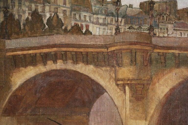 Paris - Pêcheurs sur la Seine - 20th Century Oil, Figures in Cityscape by Peske - Painting by Jean Peske