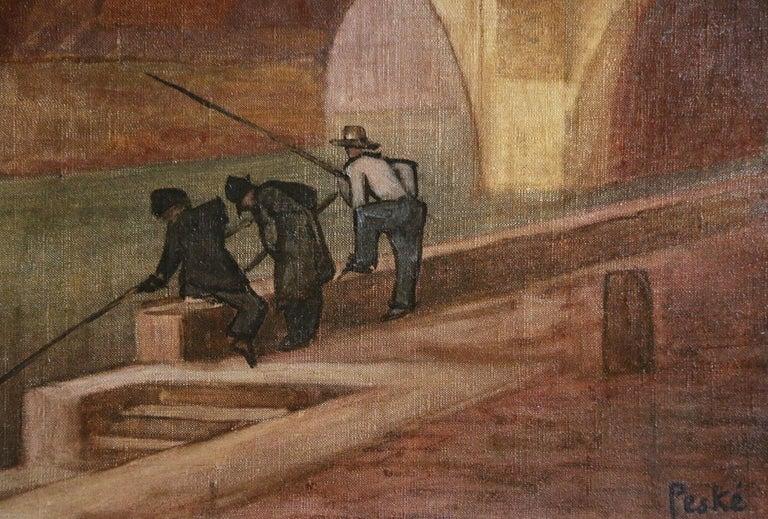 Paris - Pêcheurs sur la Seine - 20th Century Oil, Figures in Cityscape by Peske - Fauvist Painting by Jean Peske