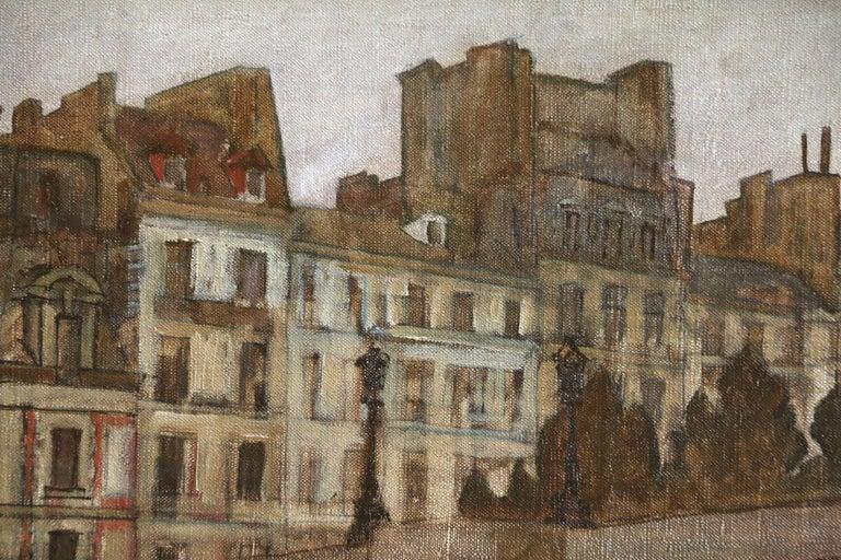 Paris - Pêcheurs sur la Seine - 20th Century Oil, Figures in Cityscape by Peske For Sale 1