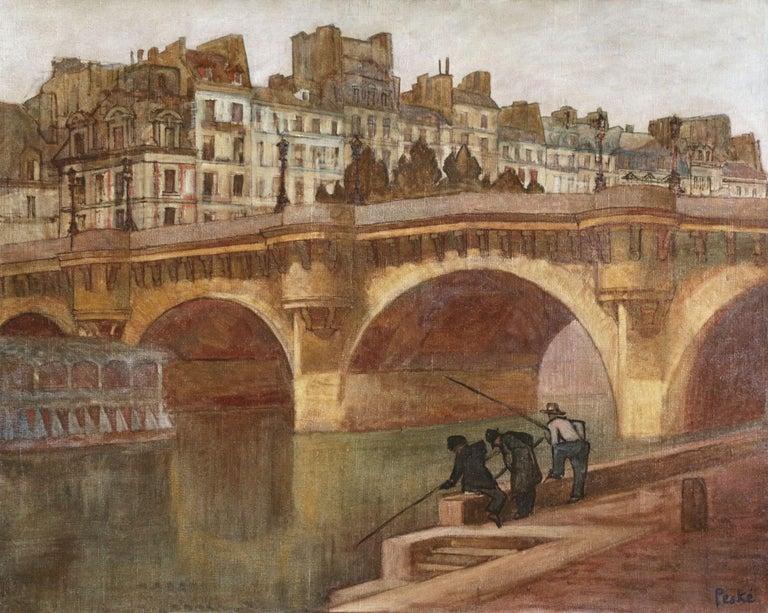 Jean Peske Figurative Painting - Paris - Pêcheurs sur la Seine - 20th Century Oil, Figures in Cityscape by Peske