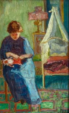 Repairing the Doll - Post Impressionist Oil, Figure in Interior by Jean Peske