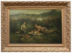 BREAKFAST ON THE LAWN - Impressionist  Italian Figurative Oil on canvas painting
