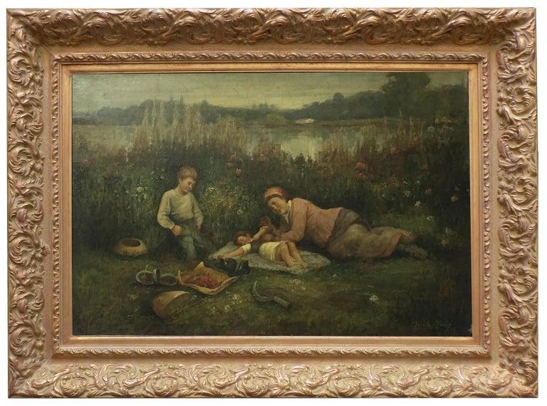 Jean Philipe Moreno Figurative Painting - BREAKFAST ON THE LAWN - Impressionist  Italian Figurative Oil on canvas painting