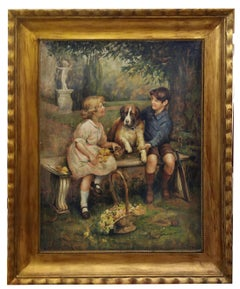 CHILDREN WITH DOG - J.P.Moreno Italian figurative oil on canvas painting