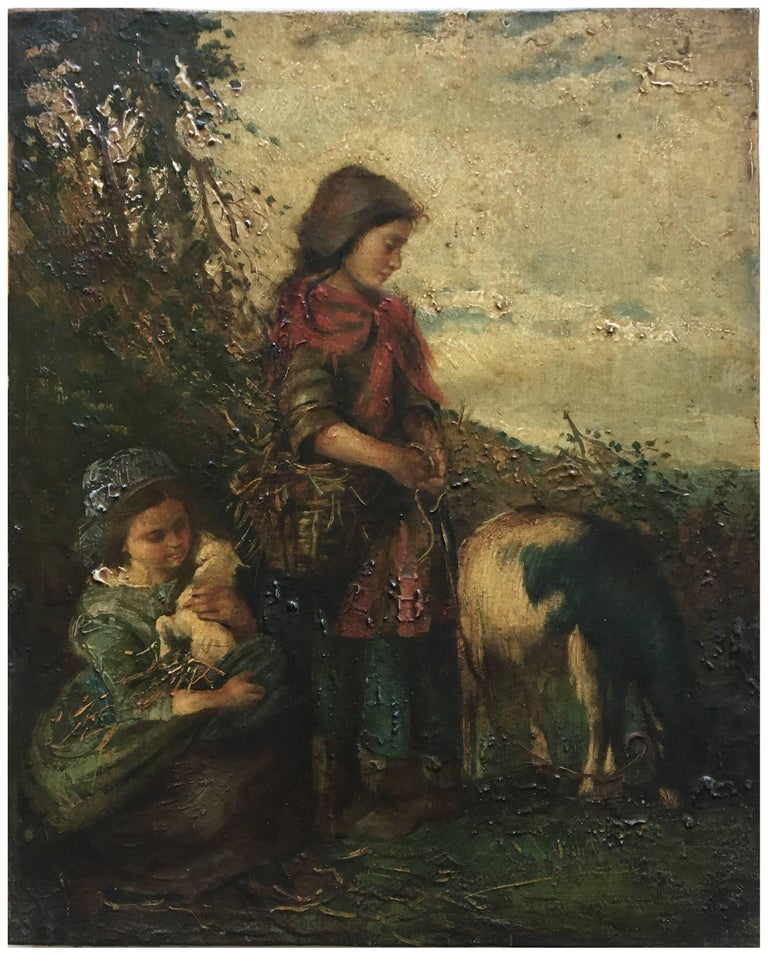 COUNTRY SCENE - Moreno Italian Figuratiove Oil on Canvas Painting - Black Figurative Painting by Jean Philipe Moreno