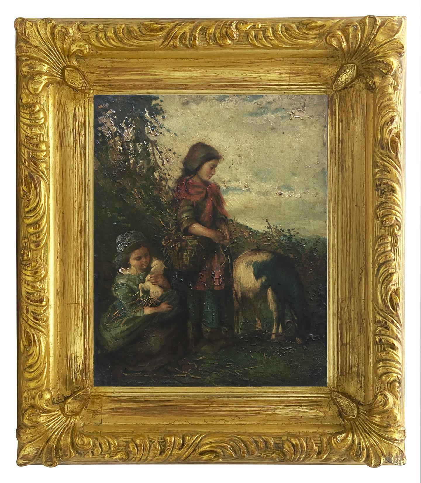 COUNTRY SCENE- Neapolitan School Italian Figuratiove Oil on Canvas Painting