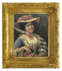 SPRING PORTRAIT - Moreno Italian Oil on Canvas Painting