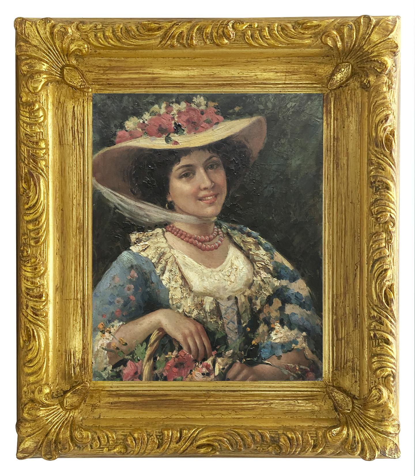 SPRING PORTRAIT- French School Impressionist - Italian Oil on Canvas Painting