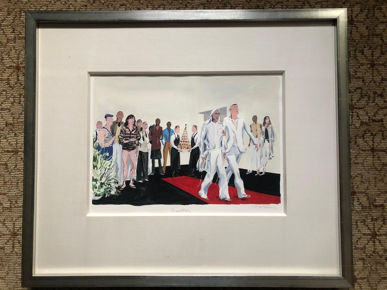 Jean-Philippe Delhomme for GQ Jean Paul Gaultier's Gay Wedding . Original guache watercolor. Jean-Phillip is a brilliant illustrator who's ad campaigns for Barneys New York brought him early attention. This work was created for GQ in 2004 for a
