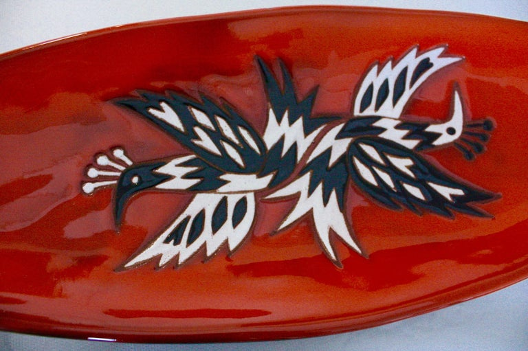 Jean Picart Le Doux (1902-1982) Large 'Birds' vide-poches of elongated oval shape, glazed and enameled earthenware  Signed