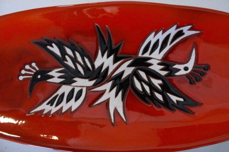 Mid-Century Modern Jean Picart Le Doux, Large 'Oiseaux' Ceramic Bowl, 1960s For Sale