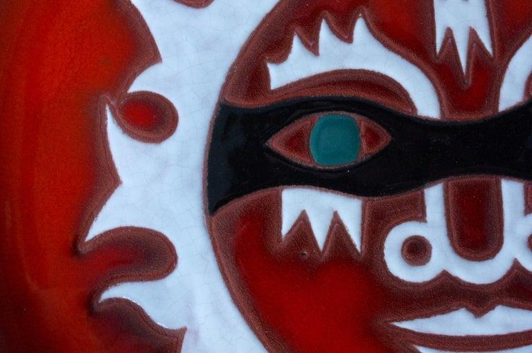 Mid-Century Modern Jean Picart Le Doux, Large 'Soleil' Ceramic Plate, 1960s For Sale
