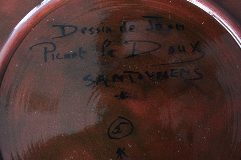 Glazed Jean Picart Le Doux, Large 'Soleil' Ceramic Plate, 1960s For Sale