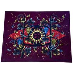 Jean Picart Le Doux Midcentury Tapestry Sun Birds Vine 1960 Signed  France