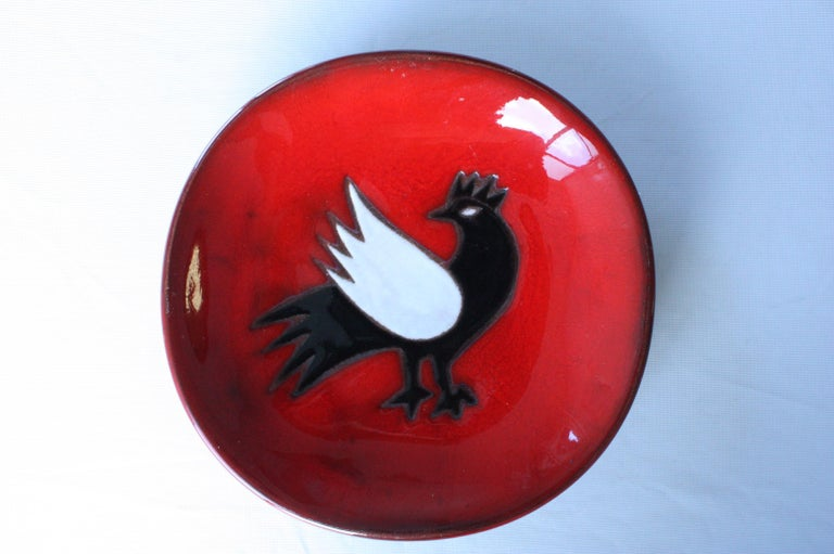 Jean Picart Le Doux (1902-1982) Large 'Bird' Plate, Designed in 1967 of circular shape,  glazed and enameled earthenware  Signed 'Dessin de Jean Picart Le Doux, Saint Vincens F.N.N.D.C' and dated
