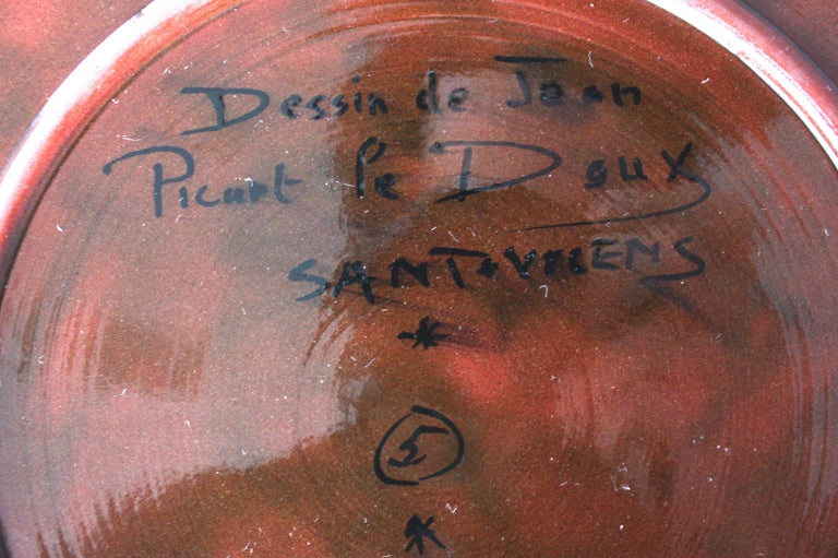 French Jean Picart Le Doux, 'Oiseau' Ceramic Plate, 1960s For Sale