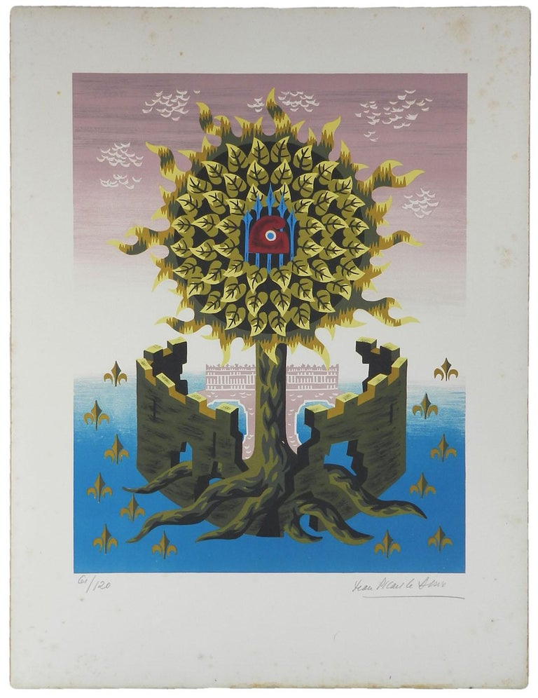 Jean Picart Le Doux signed Lithograph   Limited edition this being number 61 of 120 Signed in pencil by the artist Jean Picart Le Doux, 1902-1982  French Cartridge paper unframed The Tree of Life a recurrent theme of his Measures: Actual image