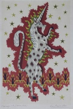 Jean Picart Le Doux Unicorn Lithograph Hommage a la Licorne Mid Century
