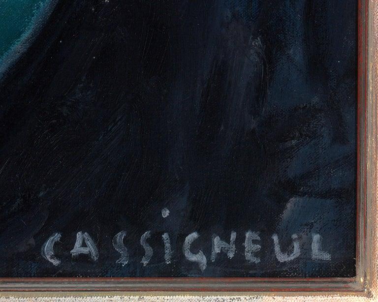 Le temps qui passe (Passing Time) - Blue Portrait Painting by Jean-Pierre Cassigneul