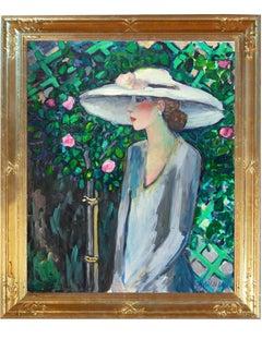 """Modern Fauvist Portrait of a Woman by Cassigneul, """"Dans Le Jardin"""""""