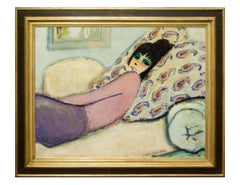 "Modern Fauvist Portrait of a Woman by Cassigneul, ""Femme Alongee (Le Divan)"""