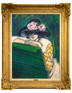 "Modern Fauvist Portrait of a Woman by Cassigneul, ""Femme Assise (Le Banc)"""
