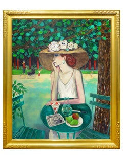 "Modern Fauvist Portrait of a Woman by Cassigneul, ""Jardin D'Emeraude II"""