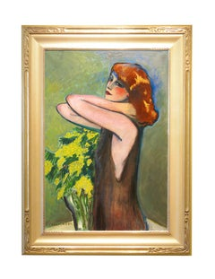 "Modern Fauvist Portrait of a Woman by Cassigneul, ""La Mimosa"""