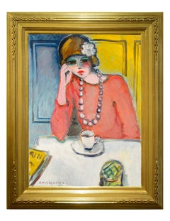 "Modern Fauvist Portrait of a Woman by Cassigneul, ""Le Cafe"""