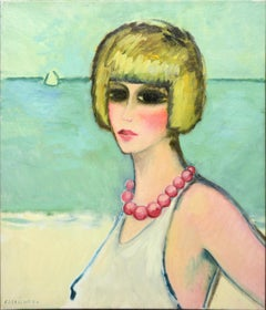 "Modern Fauvist Portrait of a Woman by Cassigneul, ""Rose Collar"""
