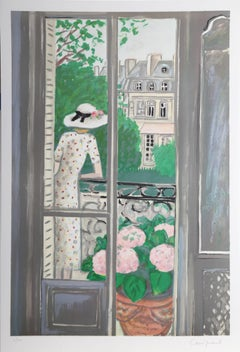 "Jean-Pierre Cassigneul, ""Woman on Balcony,"" Lithograph, 1989"