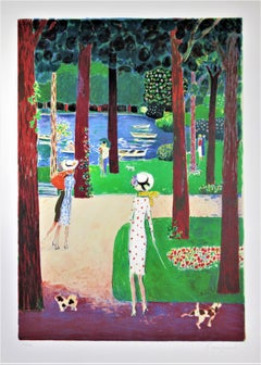 """""""Le Lac du Bois de Boulogne"""" Large original color lithograph"""