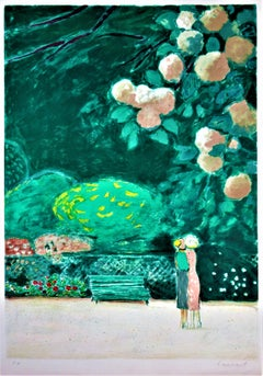 """""""Les Fausses Confidences"""" Large original color lithograph"""