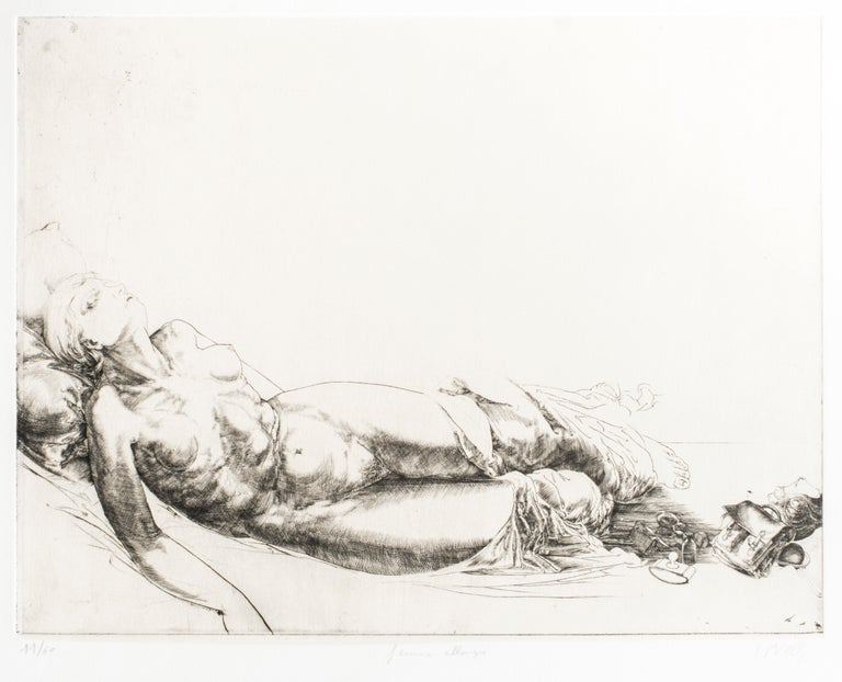 Femme Allongée / Lying Woman - Original Etching and Drypoint by J.P. Velly  - Print by Jean Pierre Velly